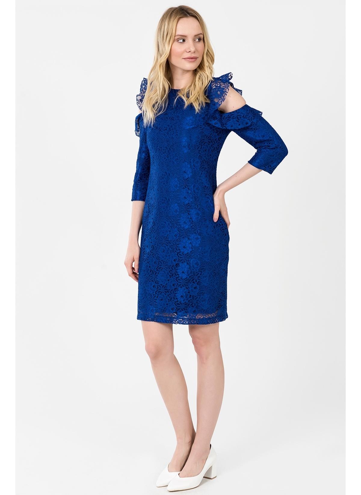 d9b4eee4f6240 İroni Kadın Kol Detaylı Dantel Elbise Saks | Morhipo | 21619756